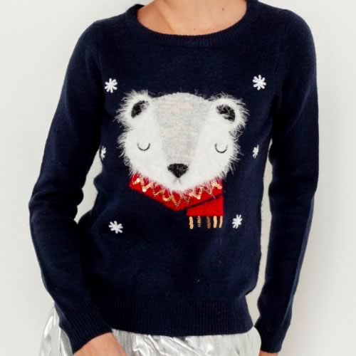 pull noel tete d'ours camaieu