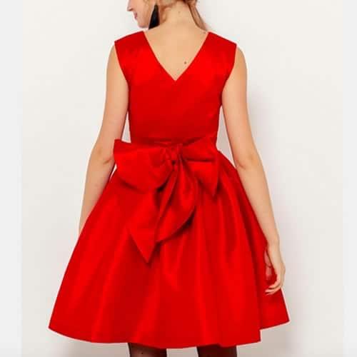 robe évasée rouge pour noel avec nœud dans le dos camaïeu