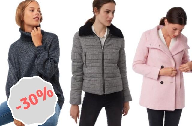Profite de -30% sur une sélection de manteaux et pulls Etam !