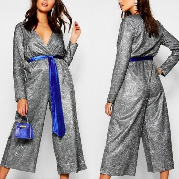 combinaison jupe culotte argentée boohoo