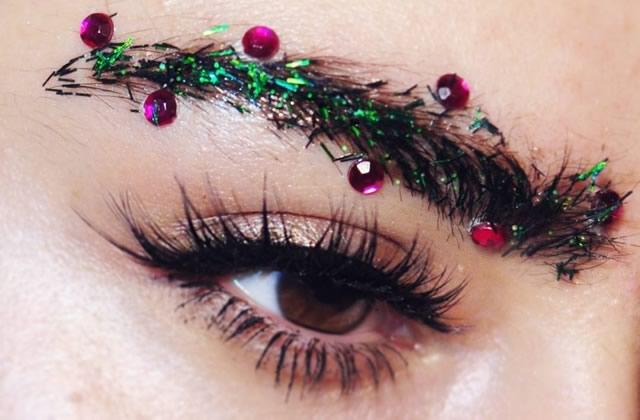 Tendance Maquillage sourcils sapin de Noël fêtes de fin d\u0027année