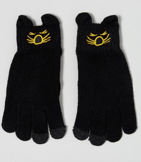 gants noirs chat
