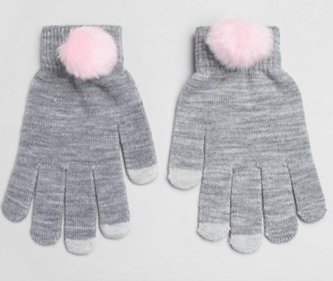 gants pompoms roses