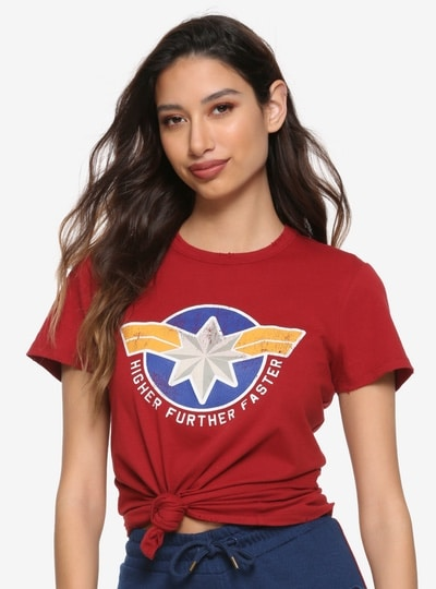t shirt rouge captain marvel