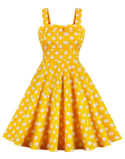 robe jaune à pois