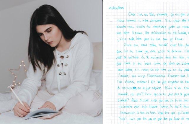 Je me suis écrit une lettre pour me dire que je m'aime