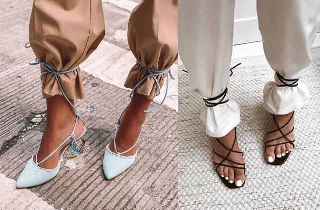 Les sandales se portent lacées par-dessus le pantalon… et les chaussettes