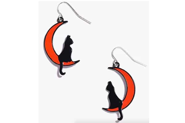 boucles d'oreille boohoo chat lune