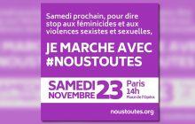 Viens à la marche féministe #NousToutes, ce samedi 23 novembre!