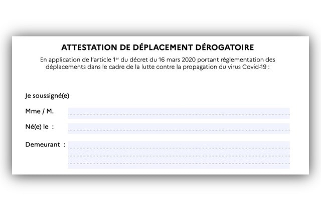 L Attestation De Deplacement Derogatoire Disponible En Version Numerique